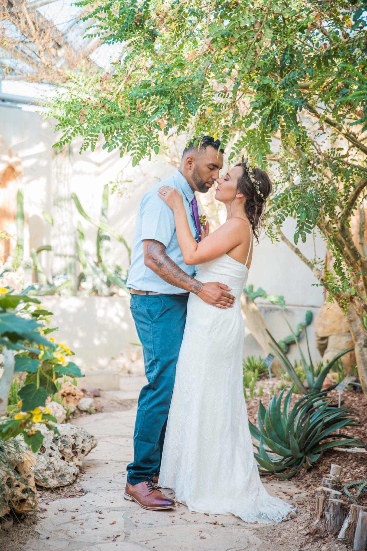 Courtney Amaya wedding San Antonio Botanical Garden couple in the desert