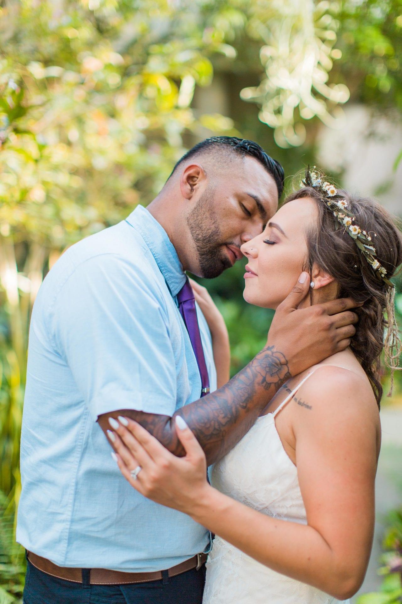 Courtney Amaya wedding San Antonio Botanical Garden couple kiss