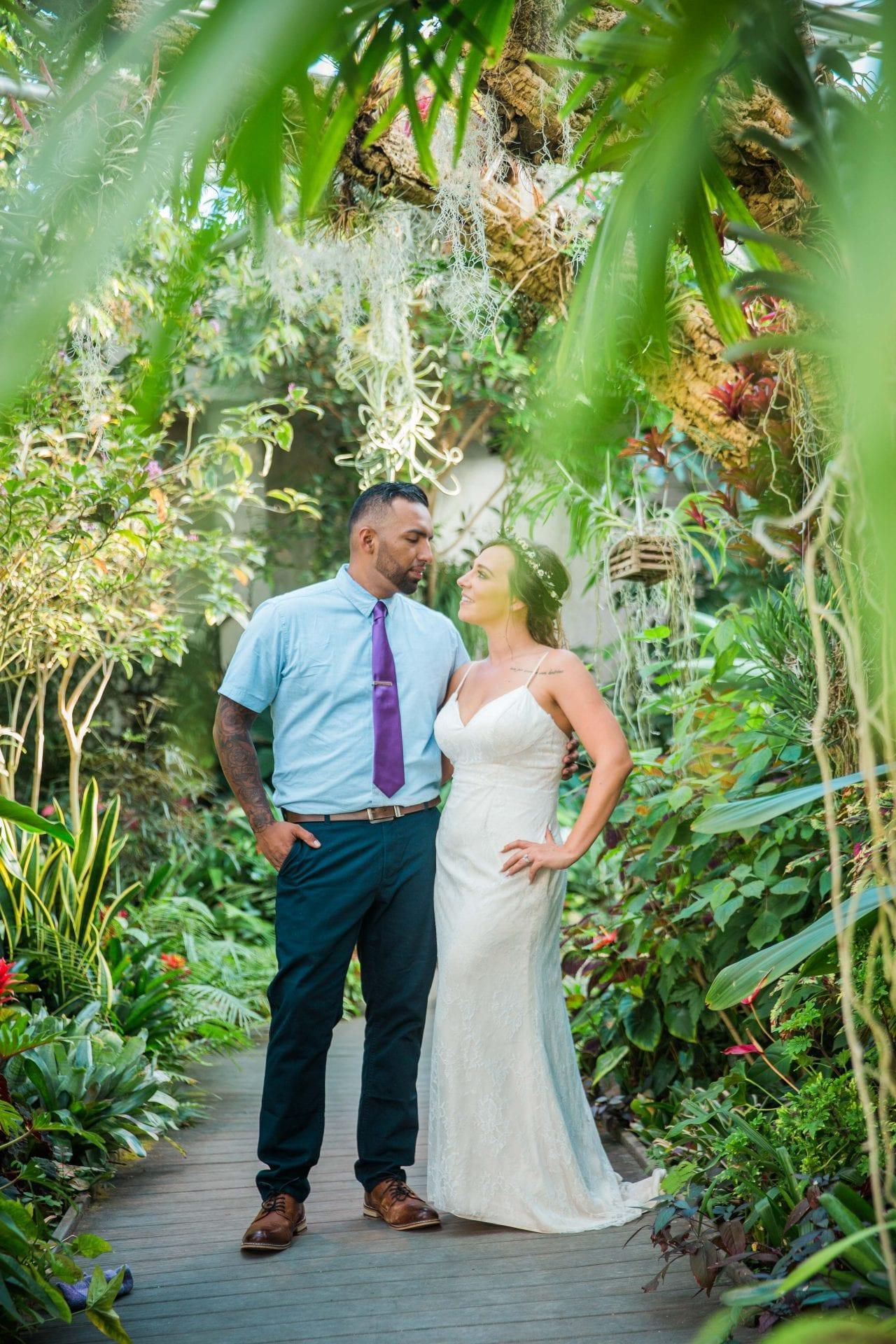 Courtney Amaya wedding San Antonio Botanical Garden couple in the garden