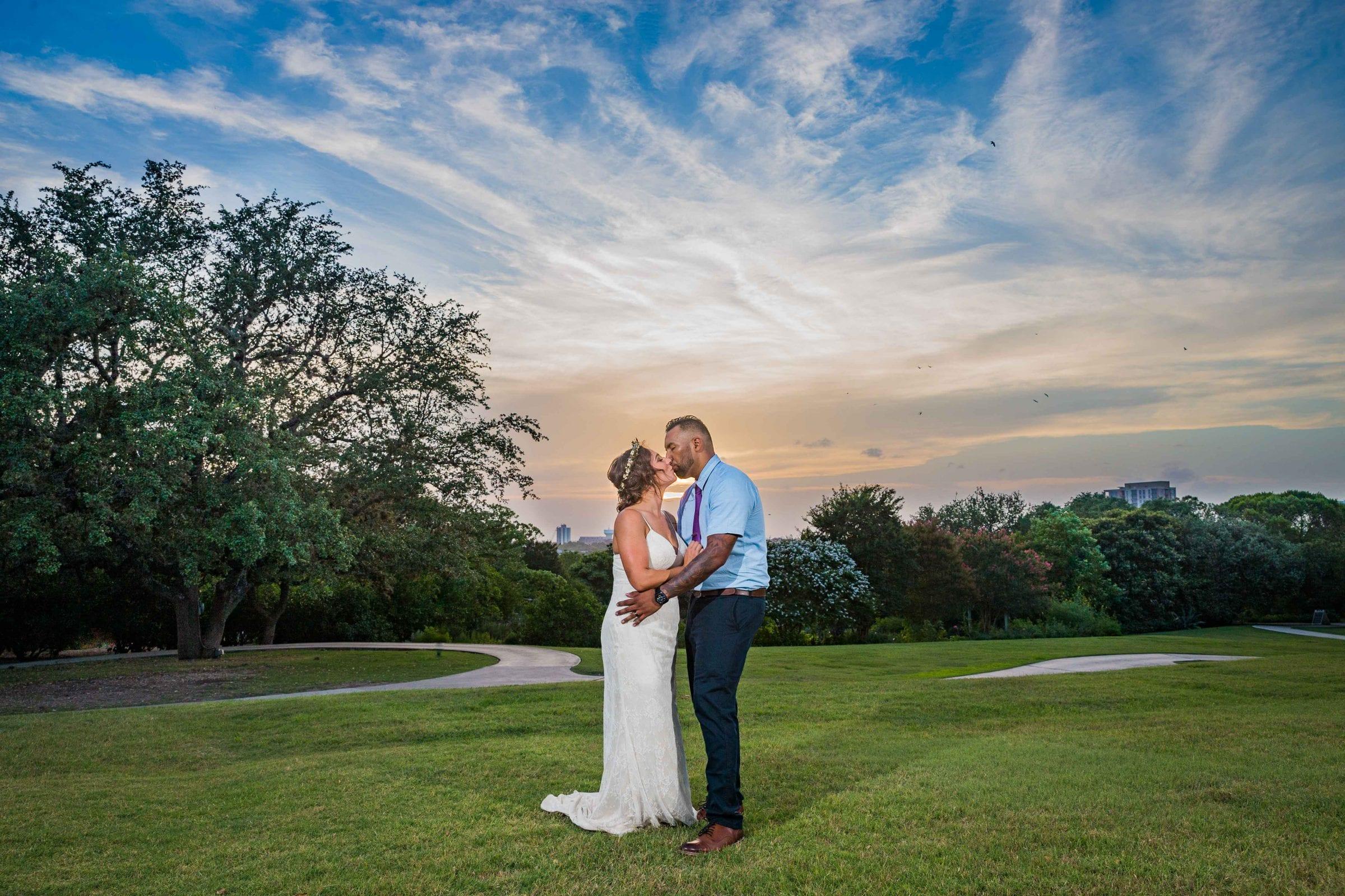 Courtney Amaya wedding San Antonio Botanical Garden couple at sunset