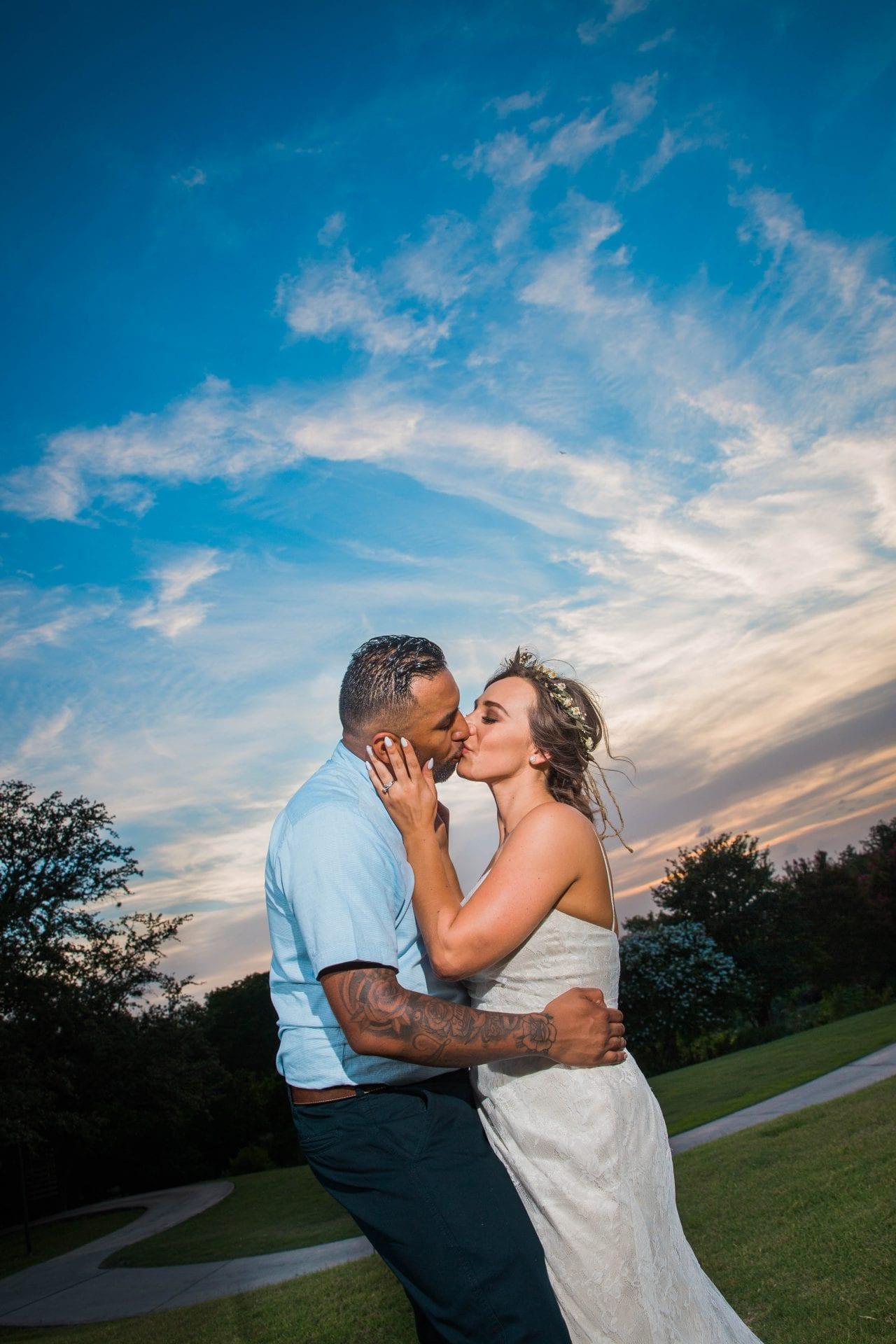 Courtney Amaya wedding San Antonio Botanical Garden couple at sunset close up