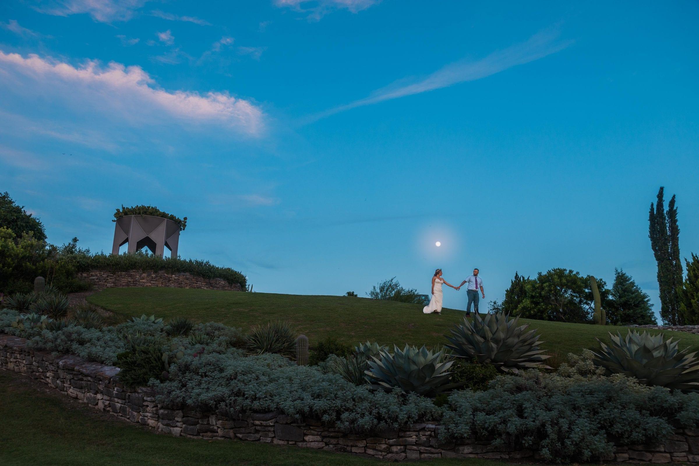 Courtney Amaya wedding San Antonio Botanical Garden couple in the moonlight