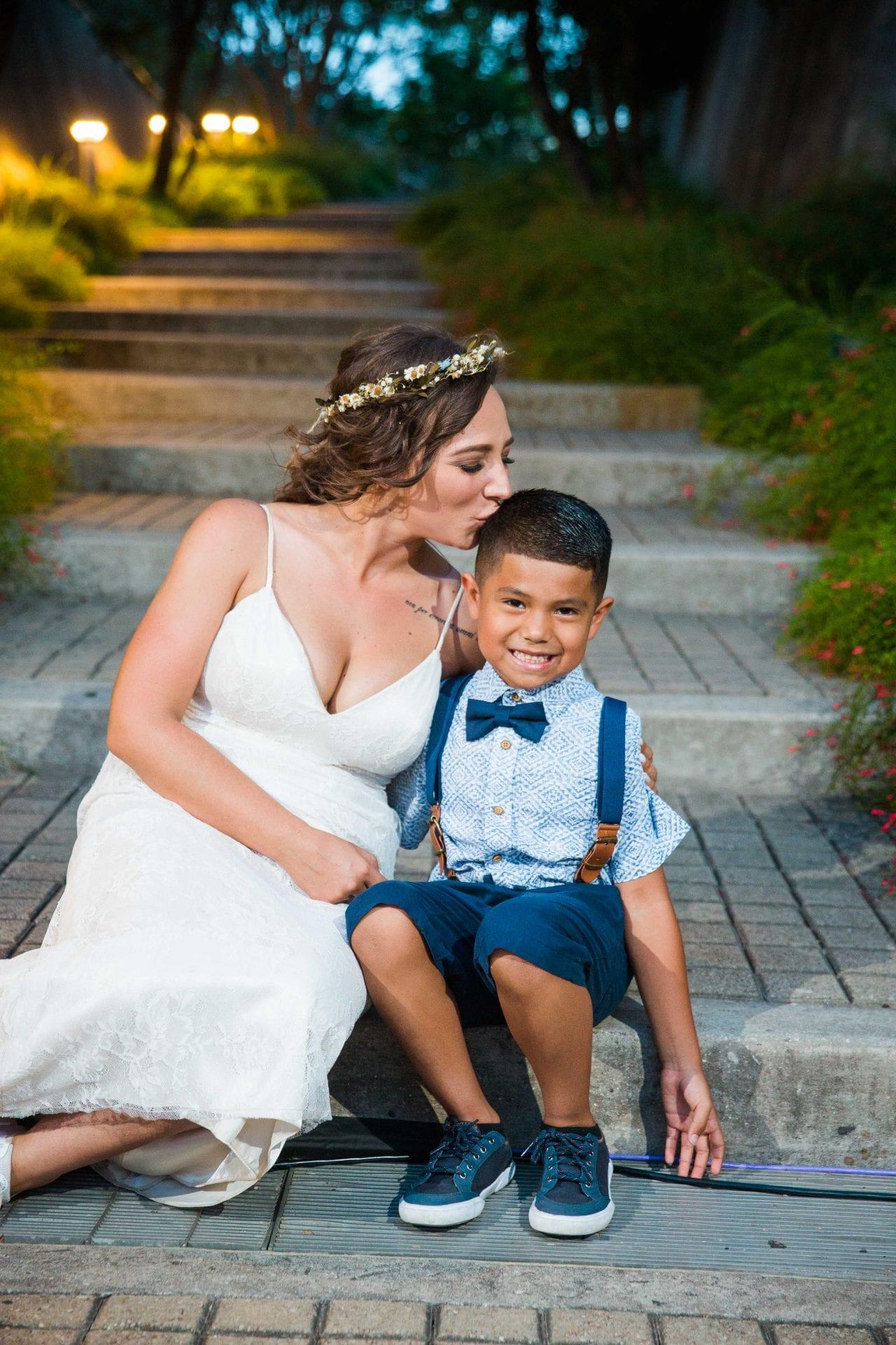 Courtney Amaya wedding San Antonio Botanical Garden bride and son