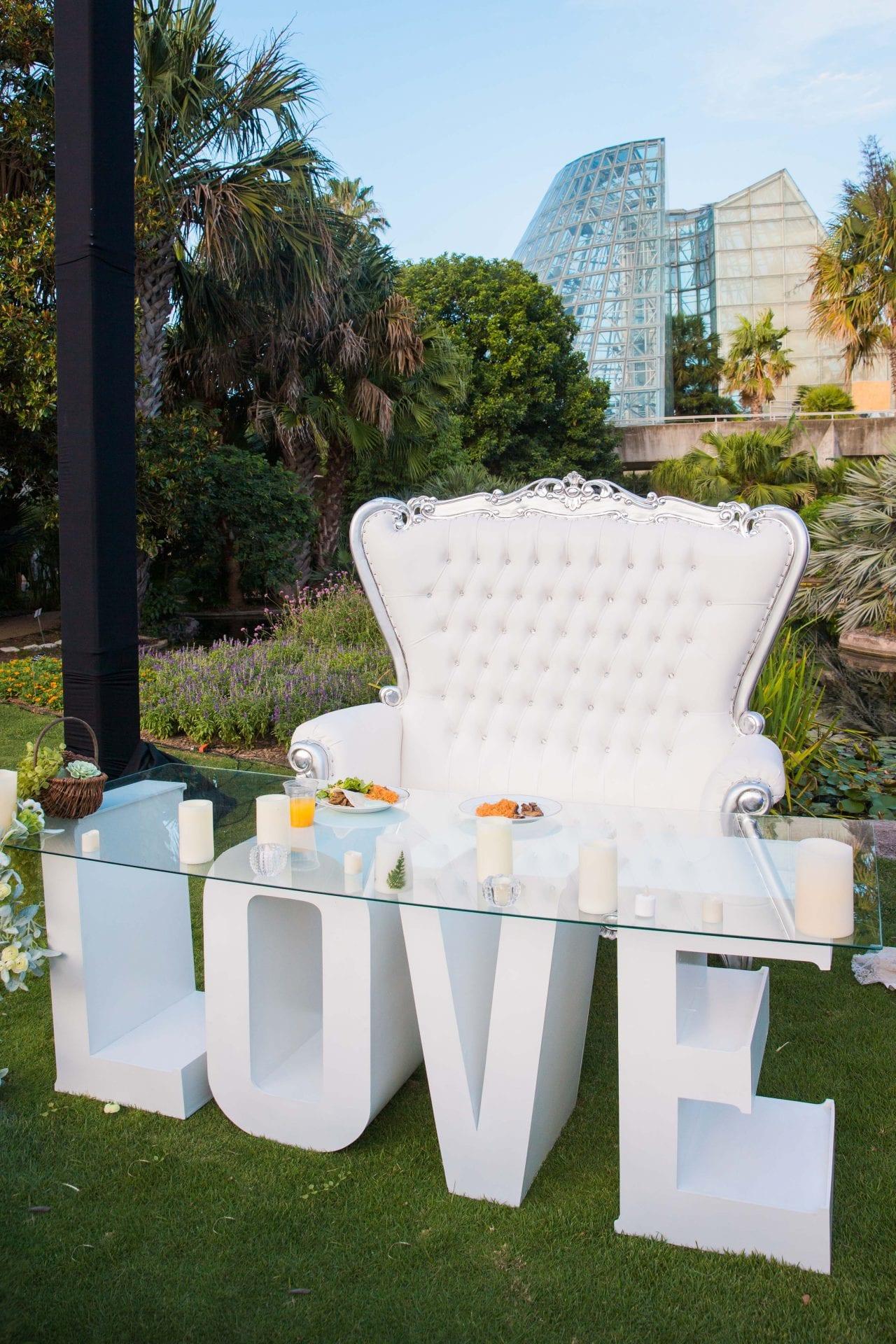 Courtney Amaya wedding San Antonio Botanical Garden love chair