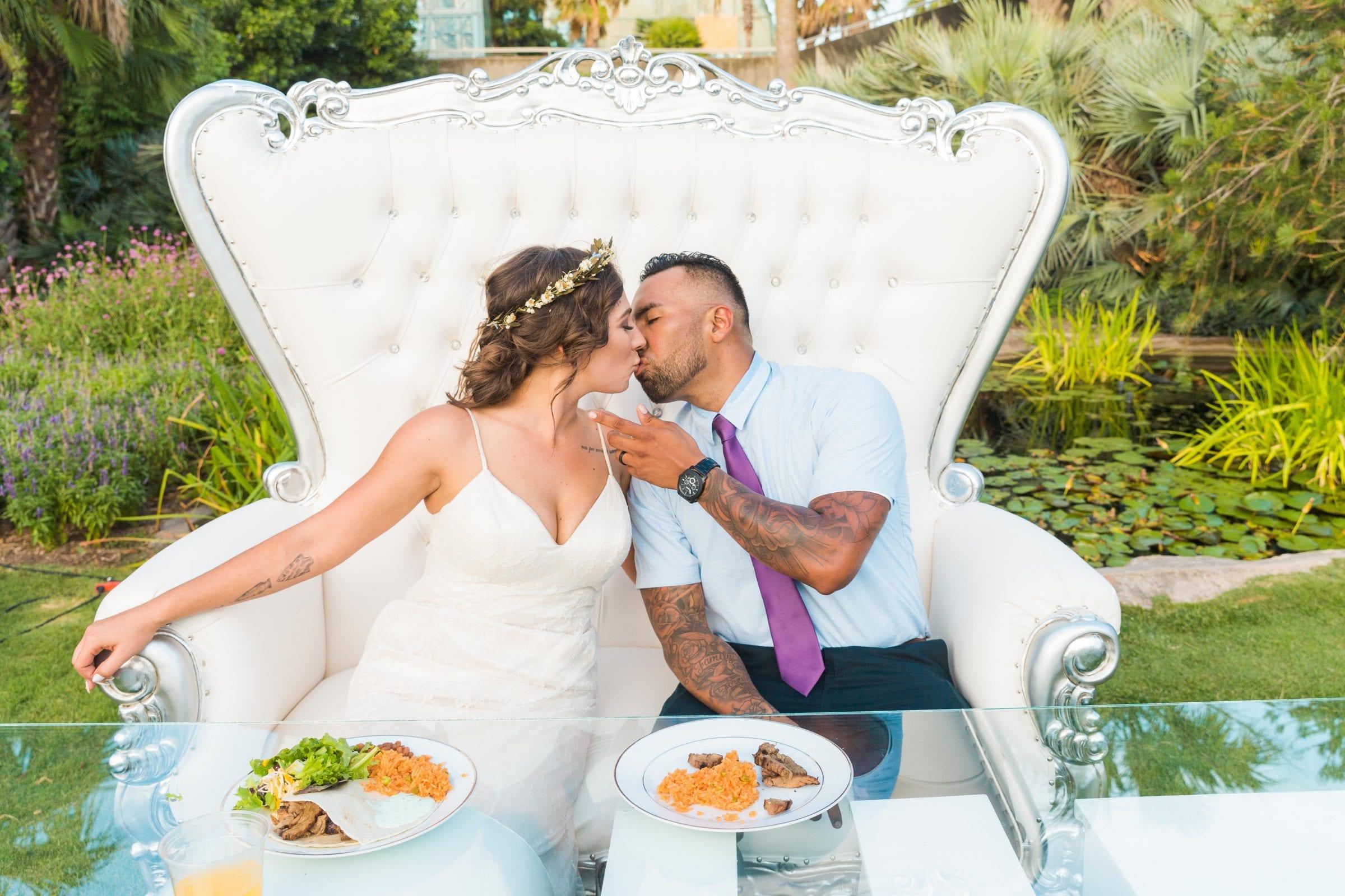 Courtney Amaya wedding San Antonio Botanical Garden love chair kiss