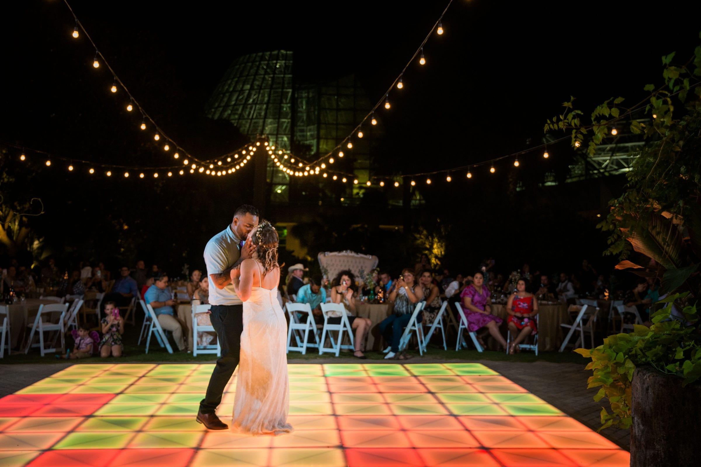 Courtney Amaya wedding San Antonio Botanical Garden first dance close