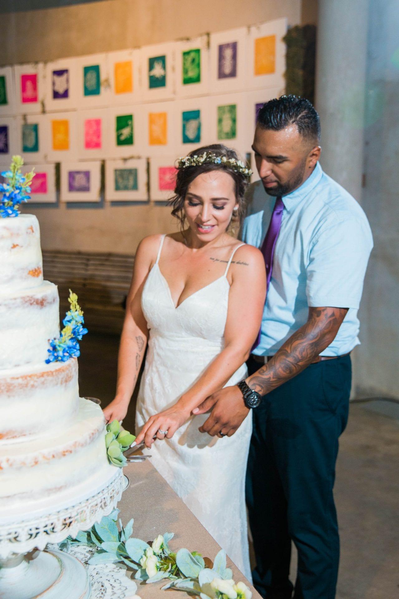 Courtney Amaya wedding San Antonio Botanical Garden cake cutting