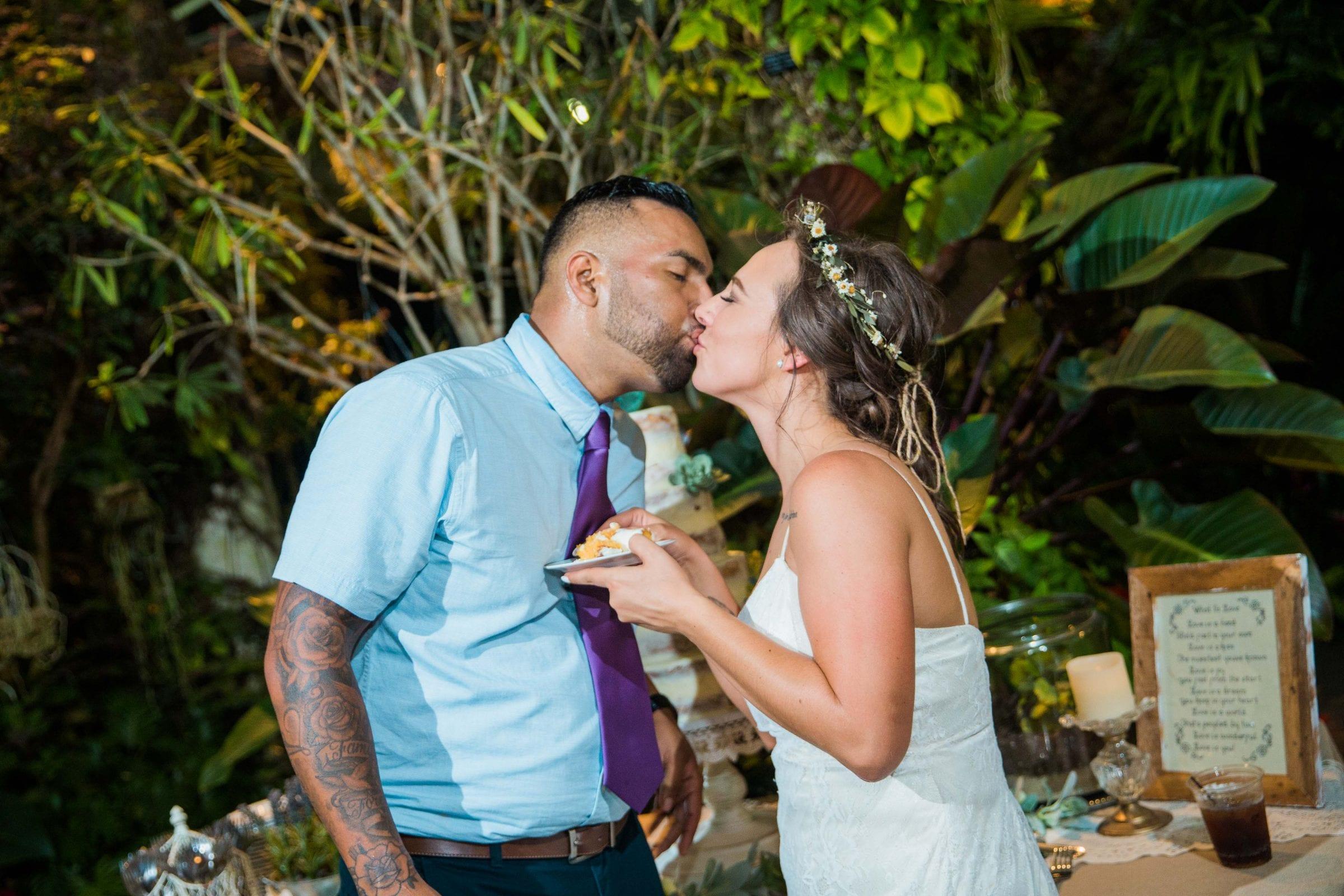 Courtney Amaya wedding San Antonio Botanical Garden cake kiss