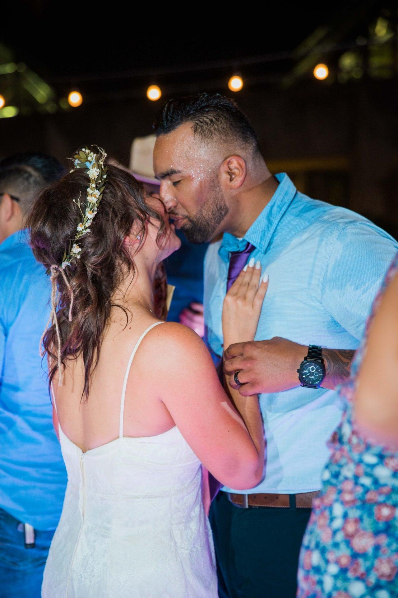 Courtney Amaya wedding San Antonio Botanical Garden fun kiss