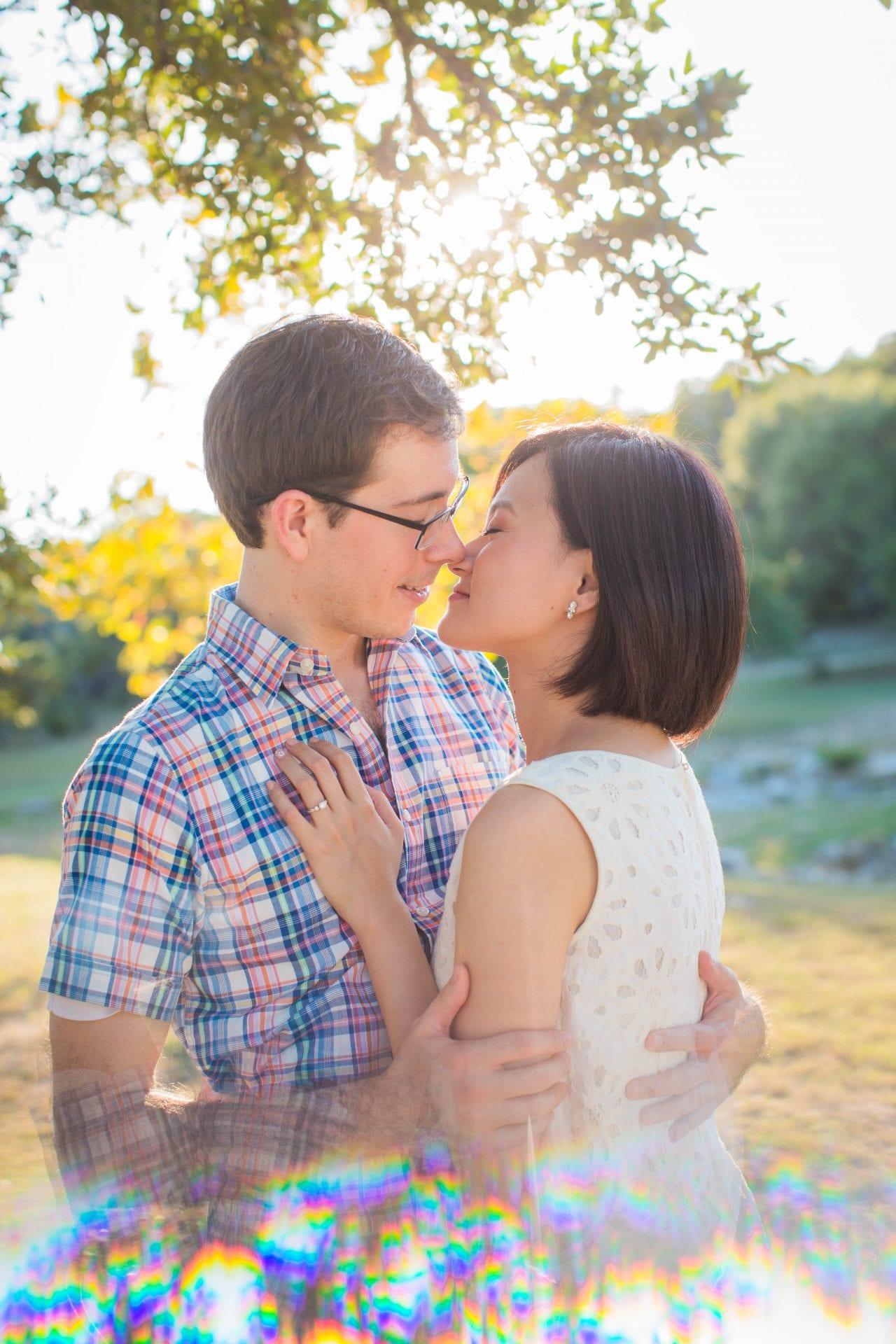 Josh and Tina engagement session at Kendall plantation under tree