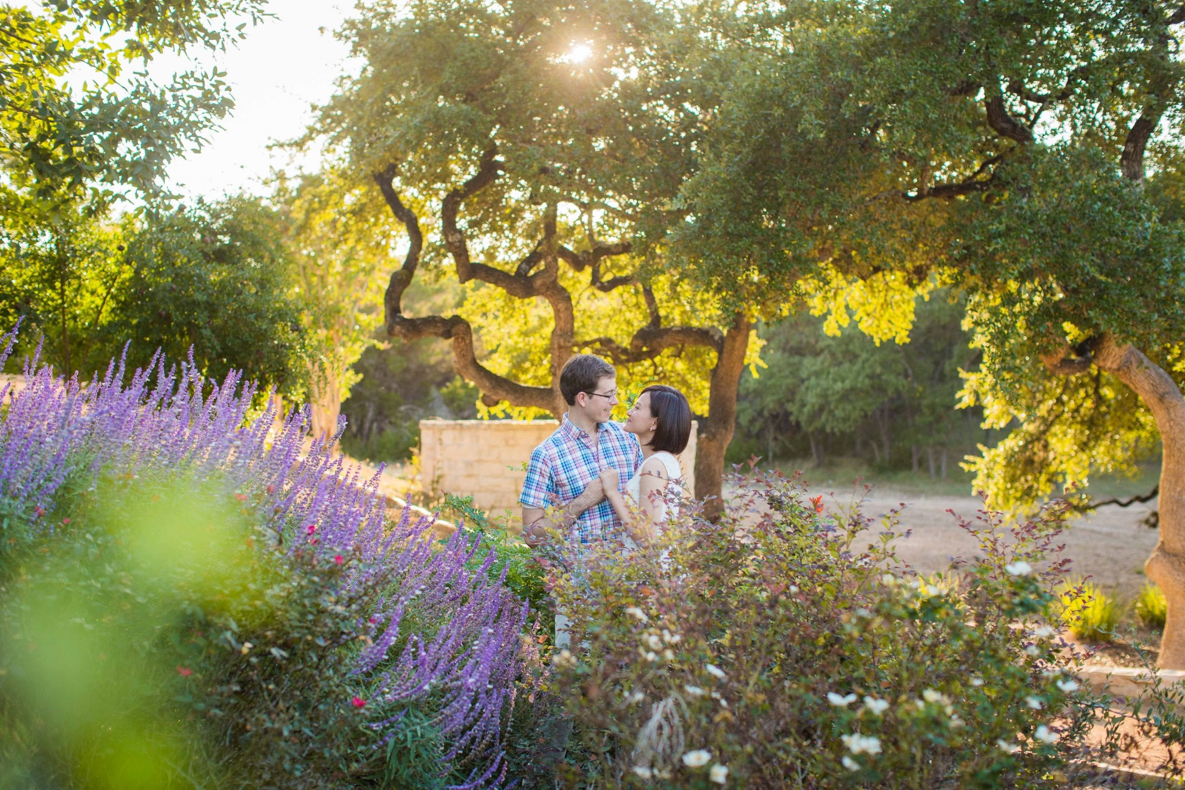 Josh and Tina engagement session at Kendall plantation in the garden