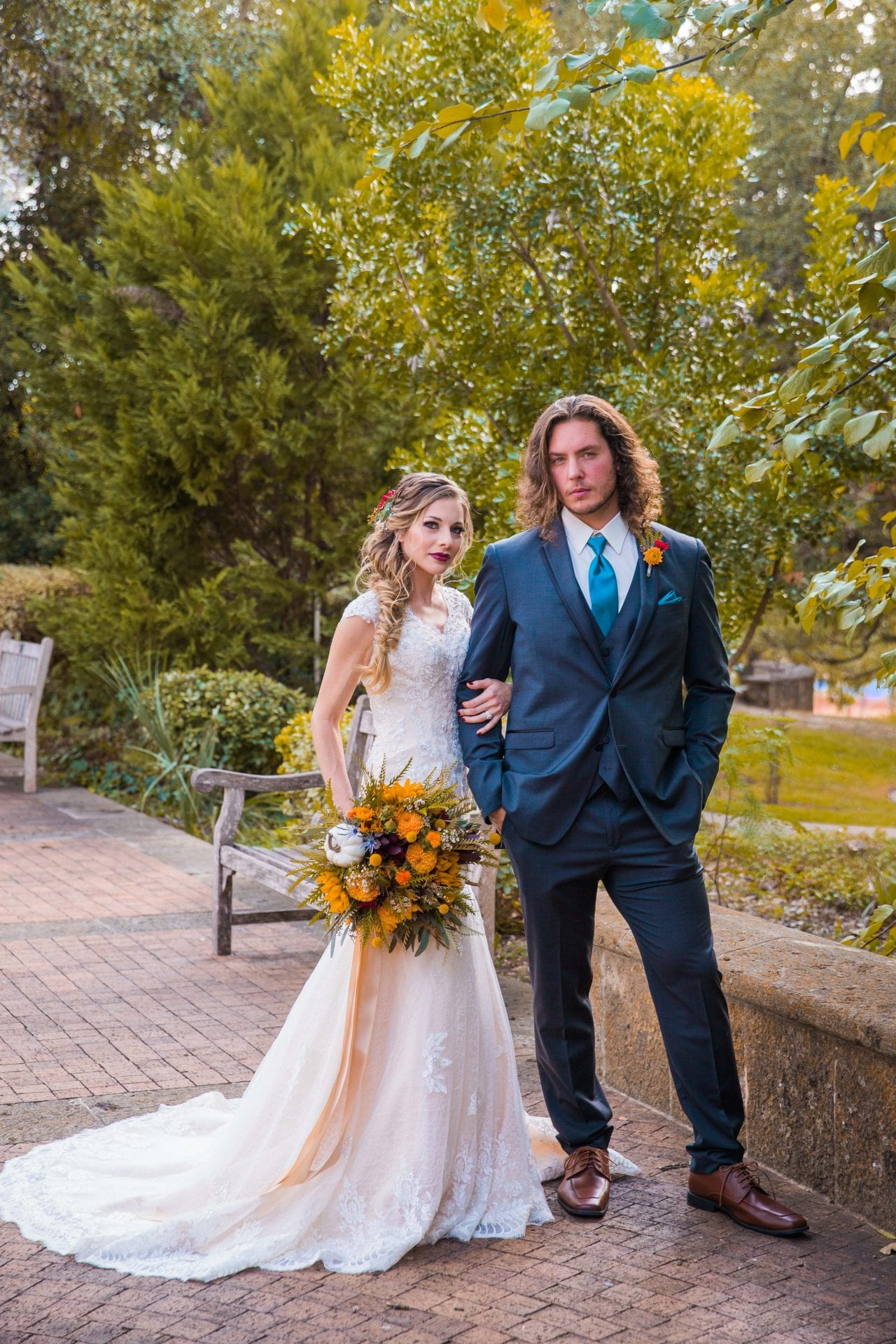 Fall styled shoot at the McNay art museum couple on path