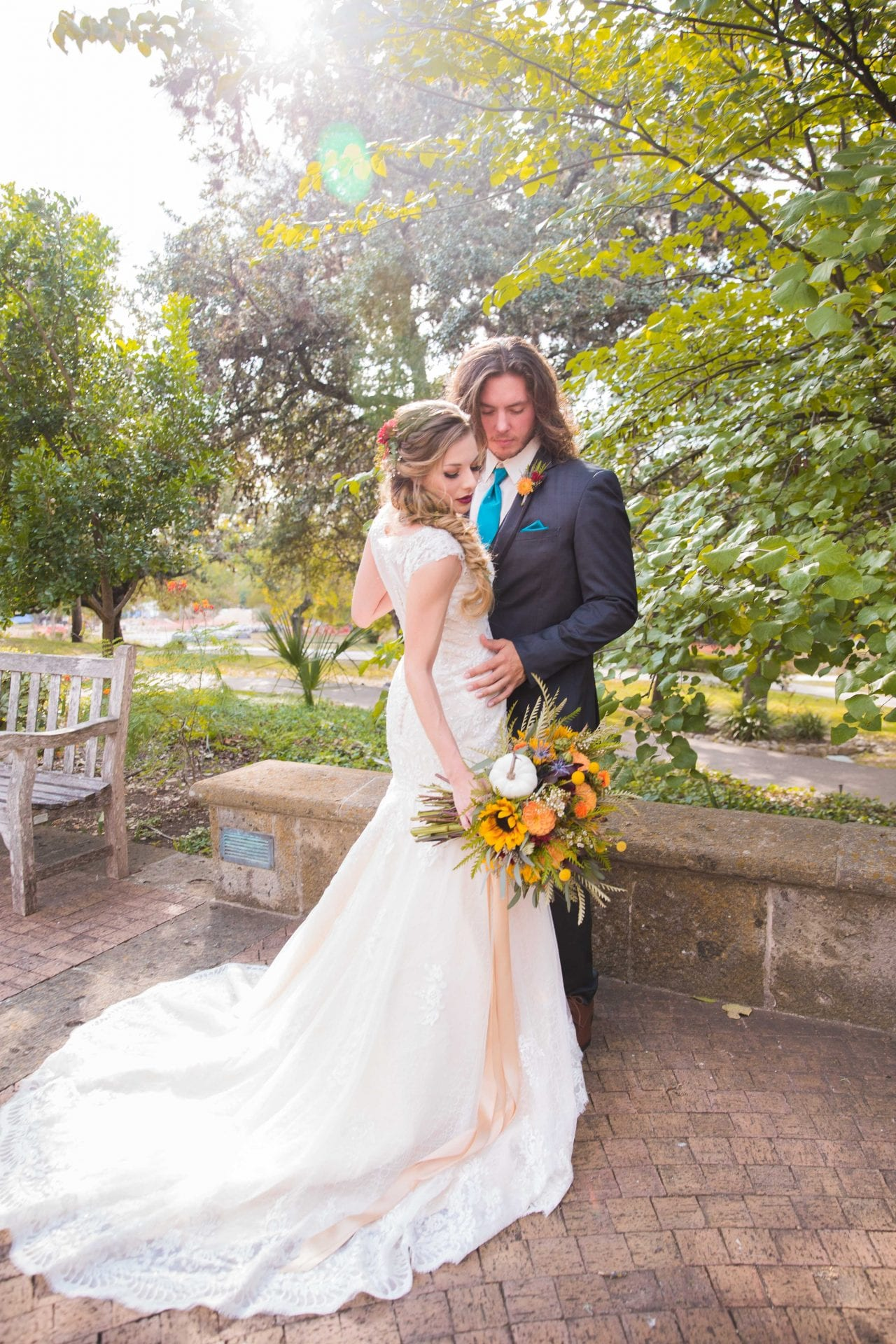 Fall styled shoot at the McNay art museum couple in the sun