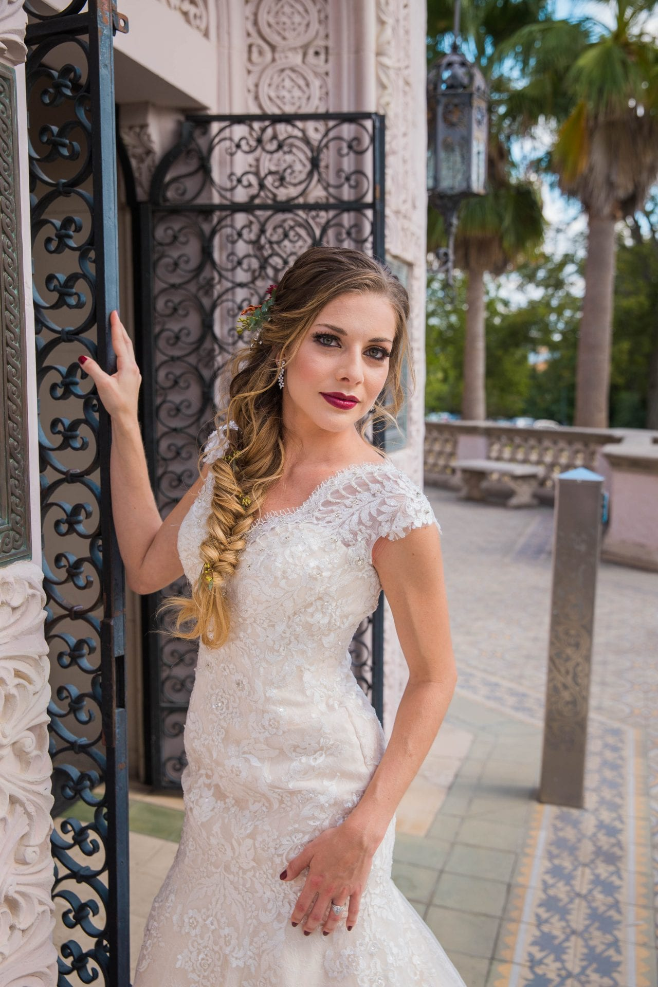 Fall styled shoot at the McNay art museum bride at door