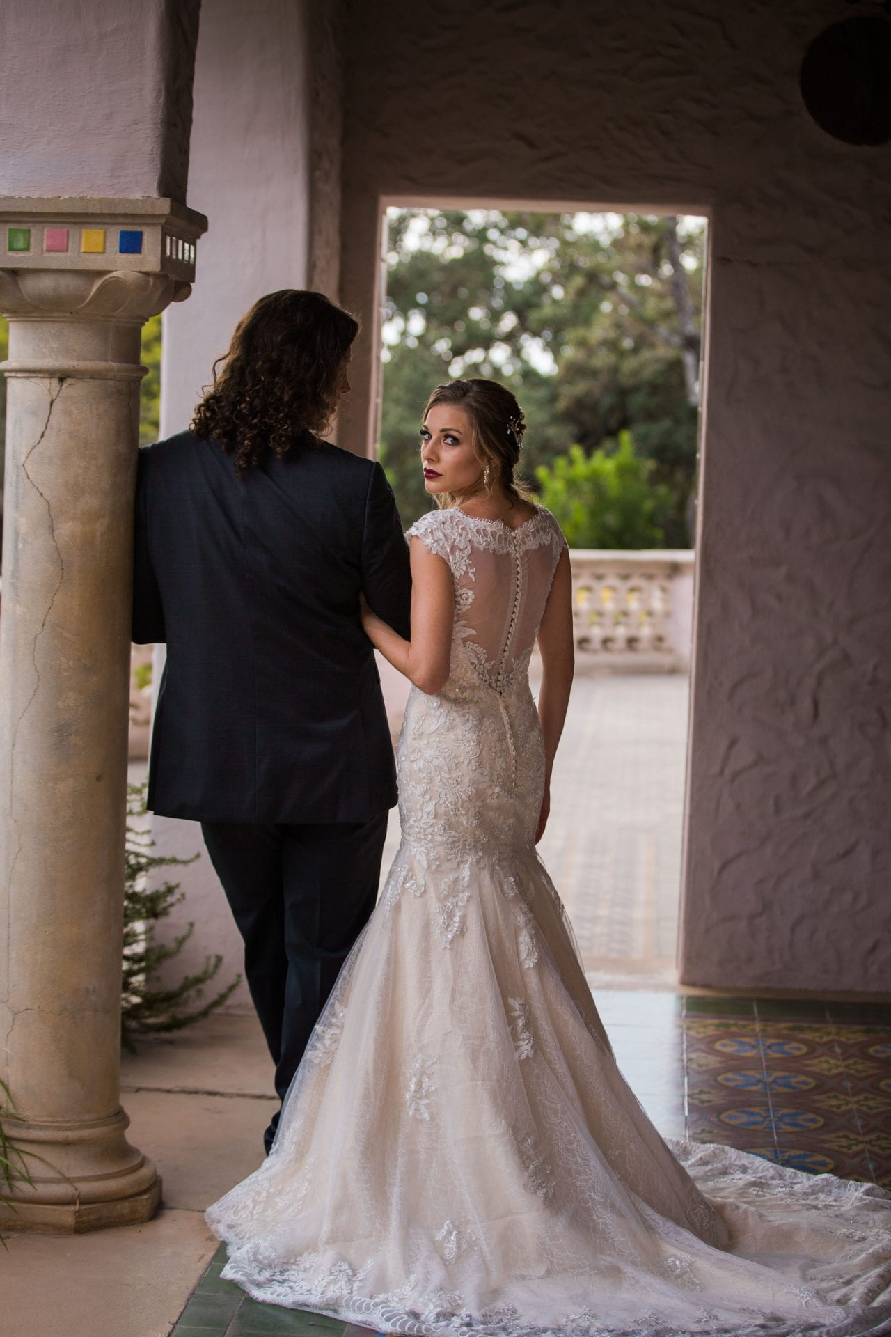 Fall styled shoot at the McNay art museum couple in arches