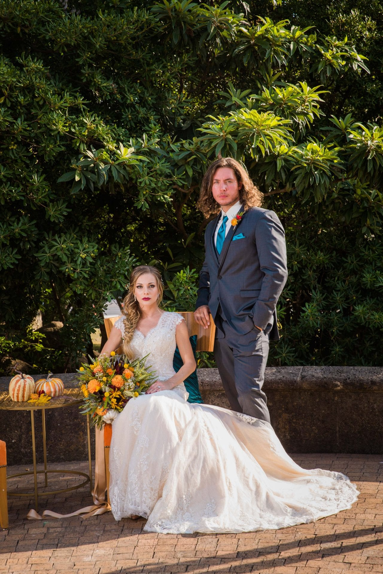 Fall styled shoot at the McNay art museum ceremony site in chairs