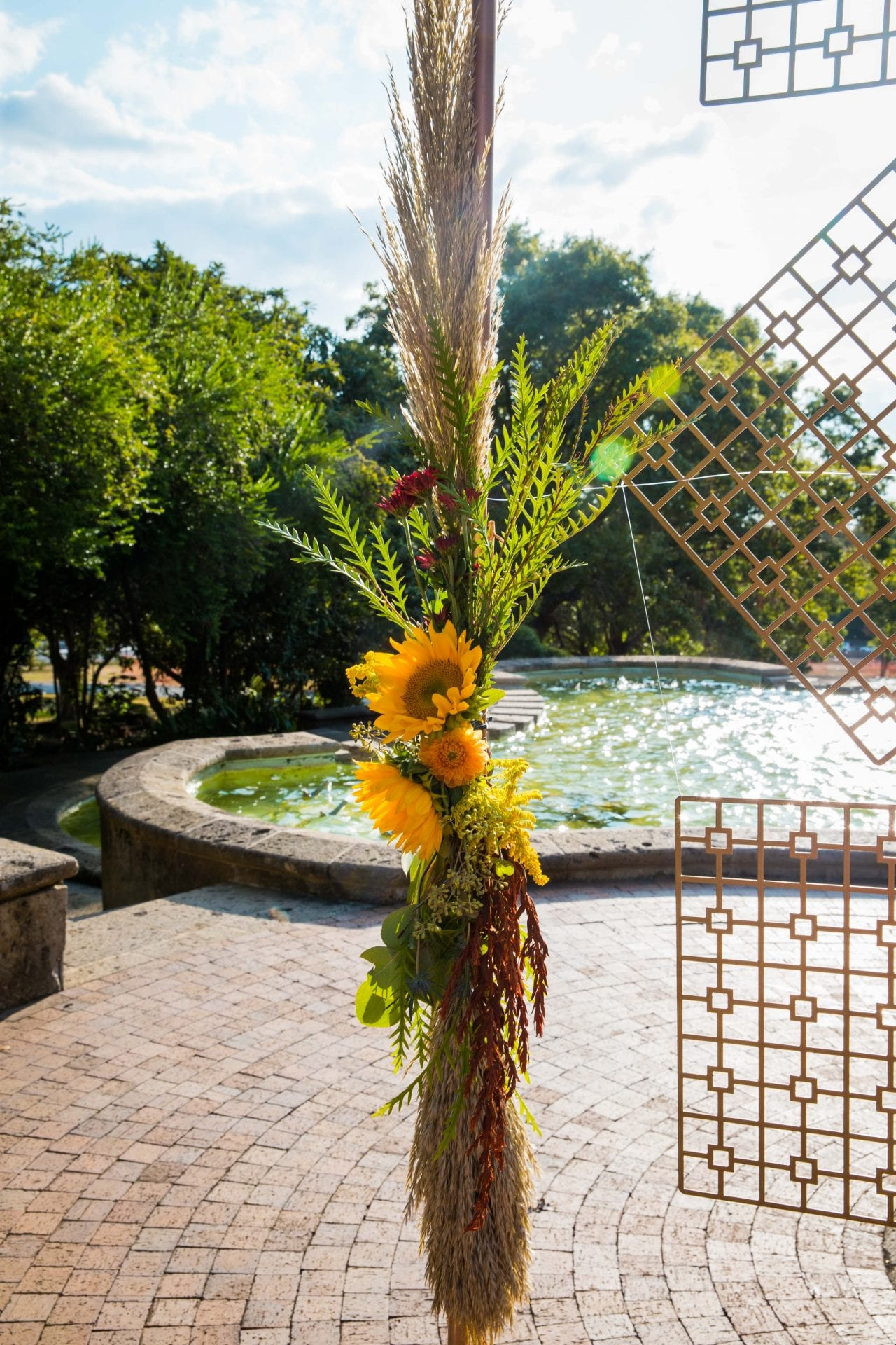 Fall styled shoot at the McNay art museum arch flowers