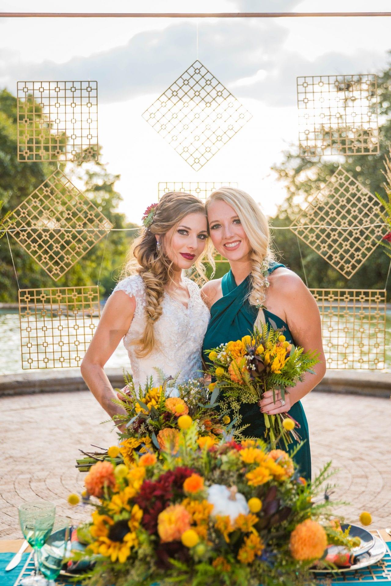 Fall styled shoot at the McNay art museum bride and bridesmaid