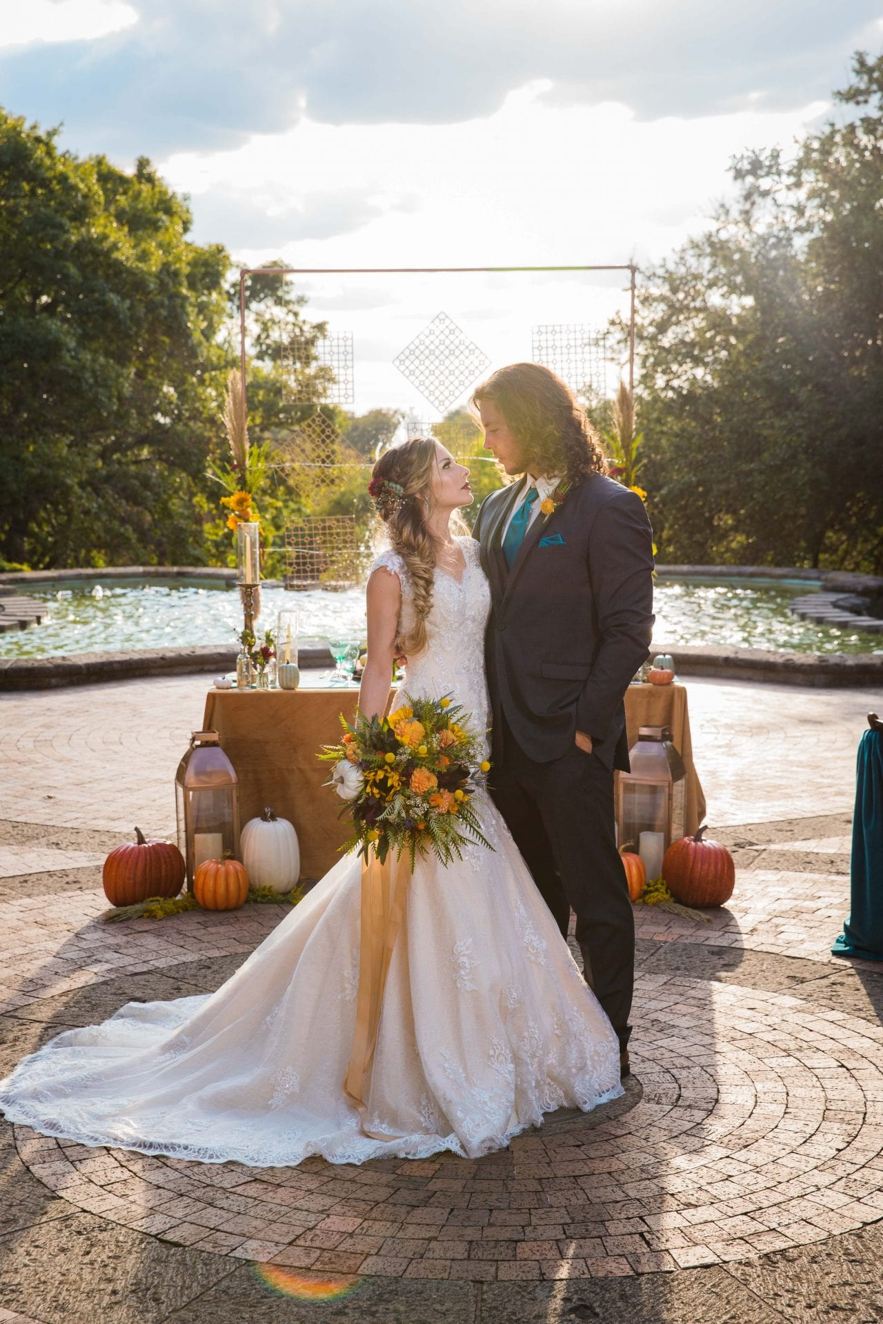 Fall styled shoot at the McNay art museum bride and groom at head table