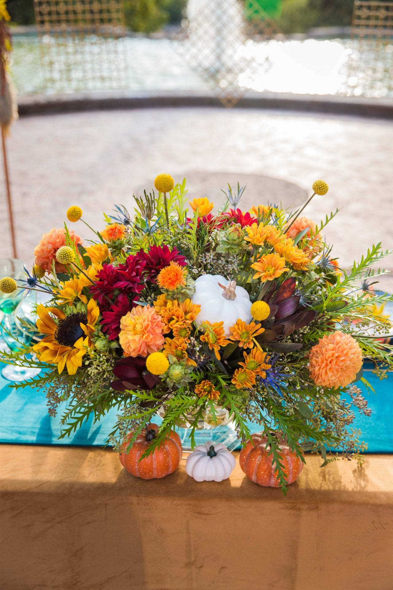 Fall styled shoot at the McNay art museum center piece at head table