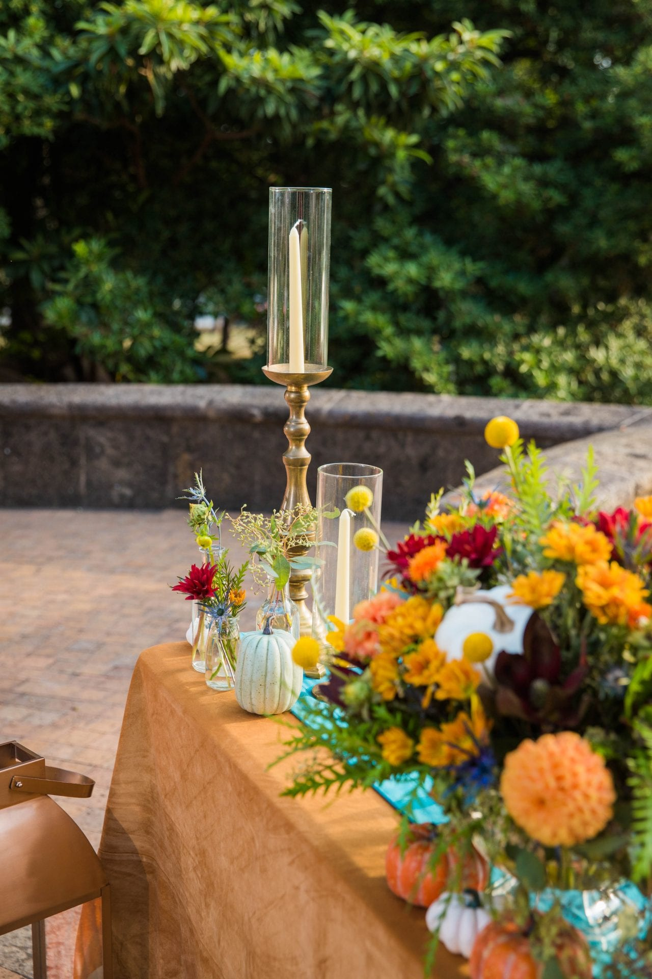 Fall styled shoot at the McNay art museum candles at head table