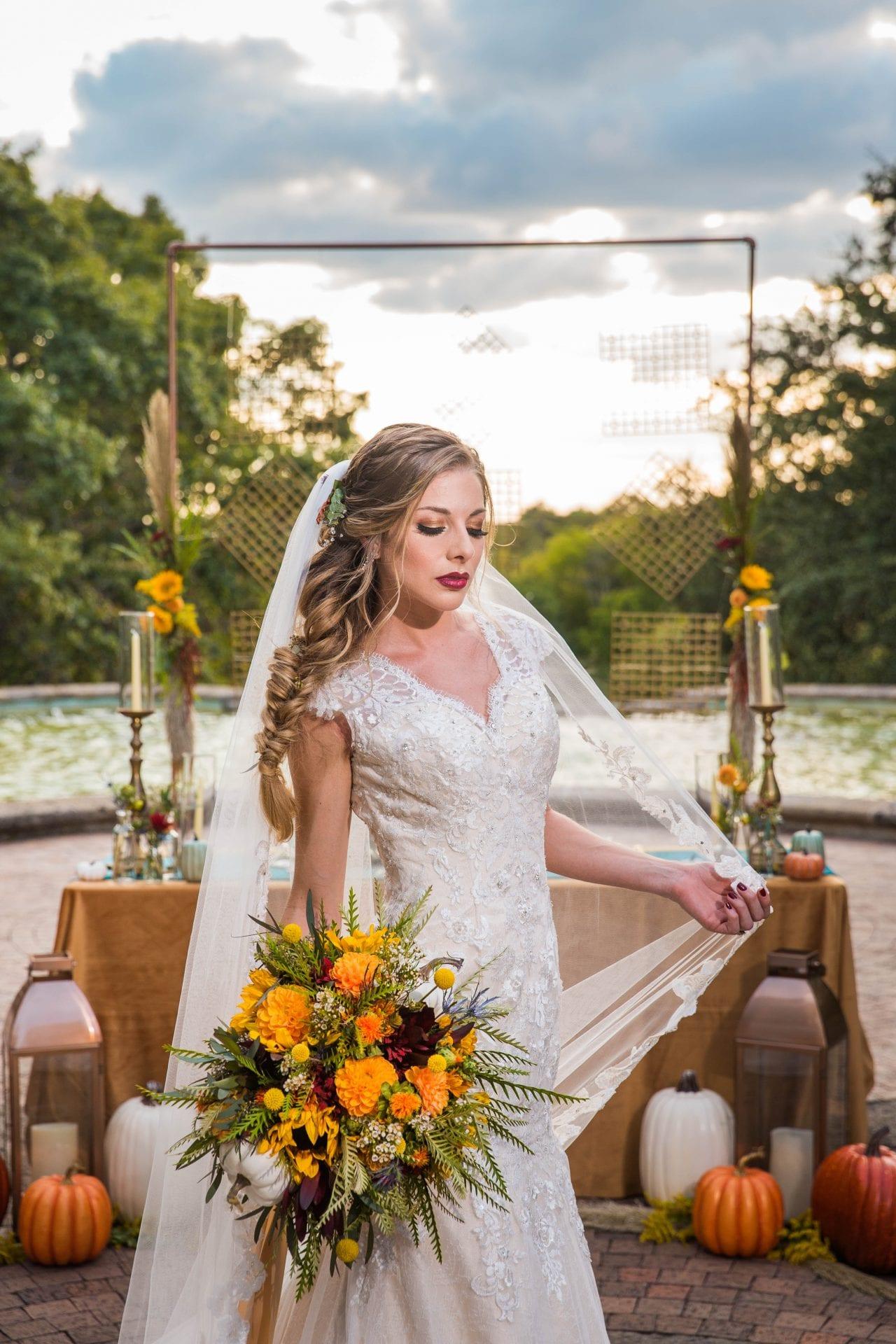Fall styled shoot at the McNay art bride headshot