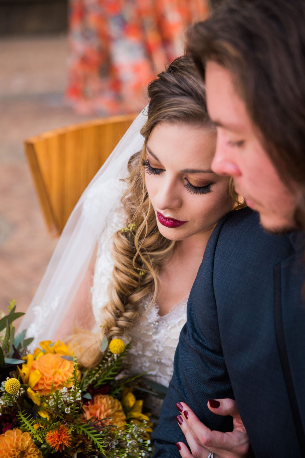 Fall styled shoot at the McNay art museum makeup up close