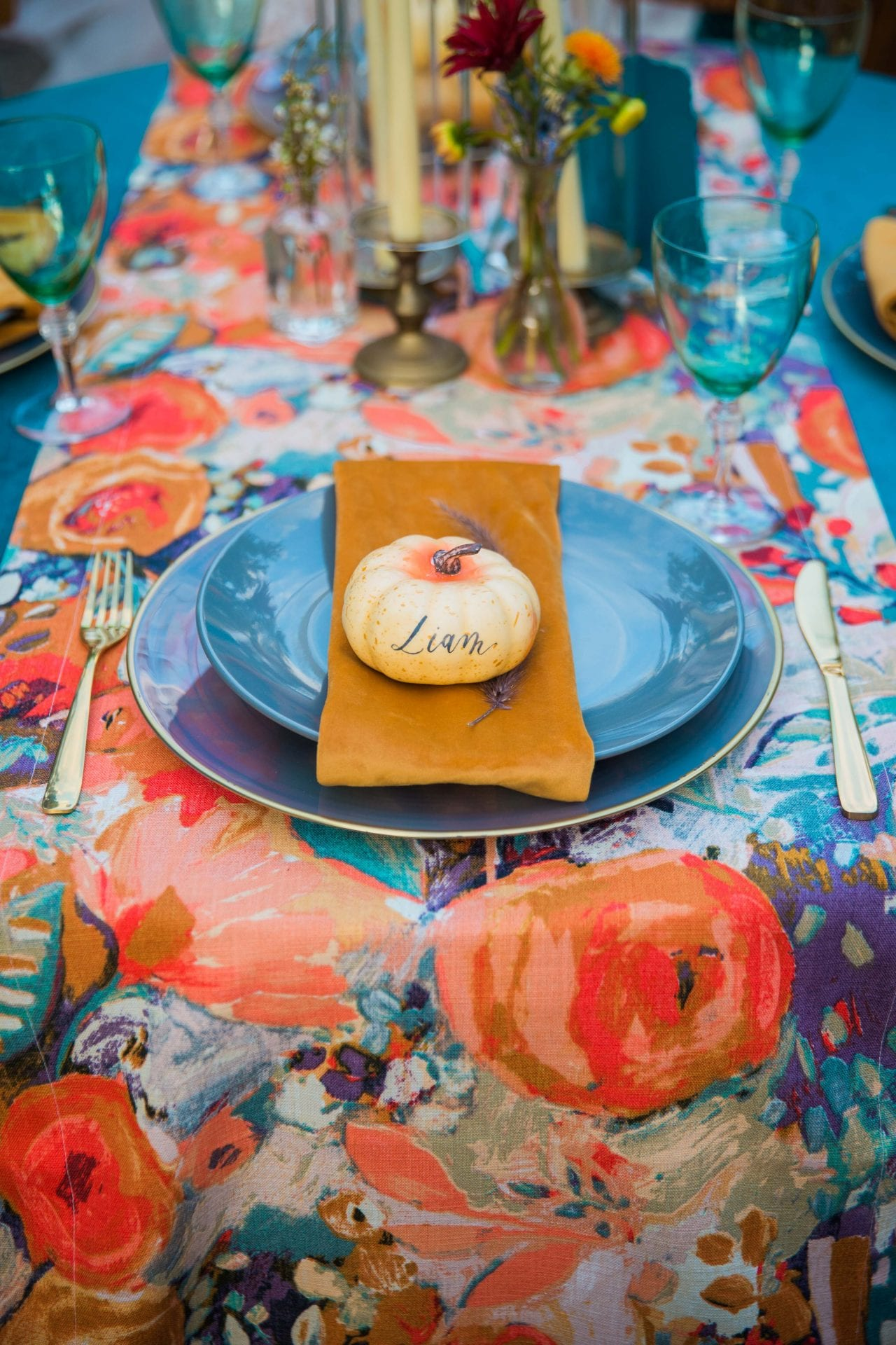 Fall styled shoot at the McNay art museum place setting guests