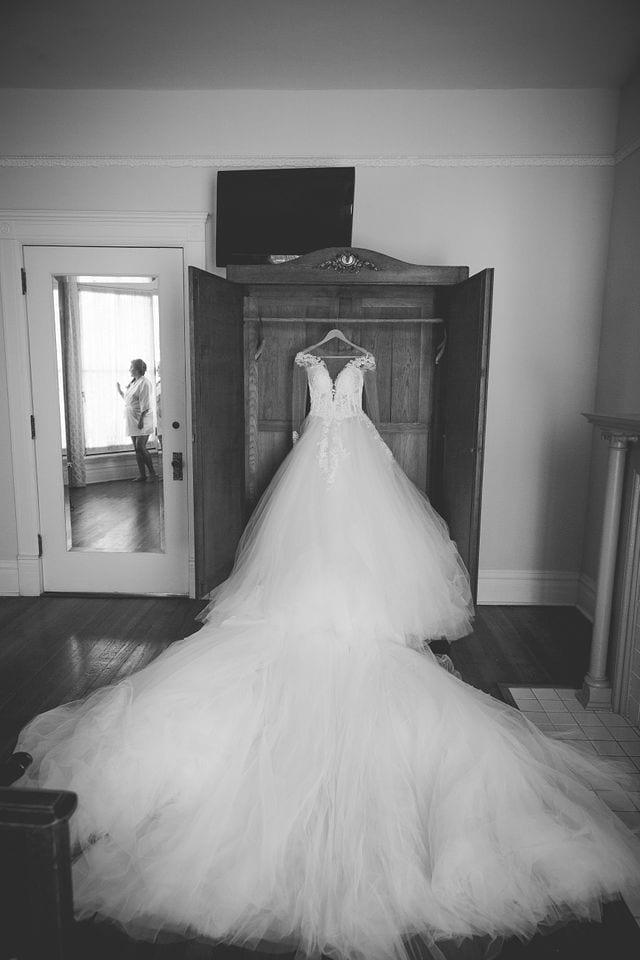 Ashley and Andy wedding Lambermont dress hanging
