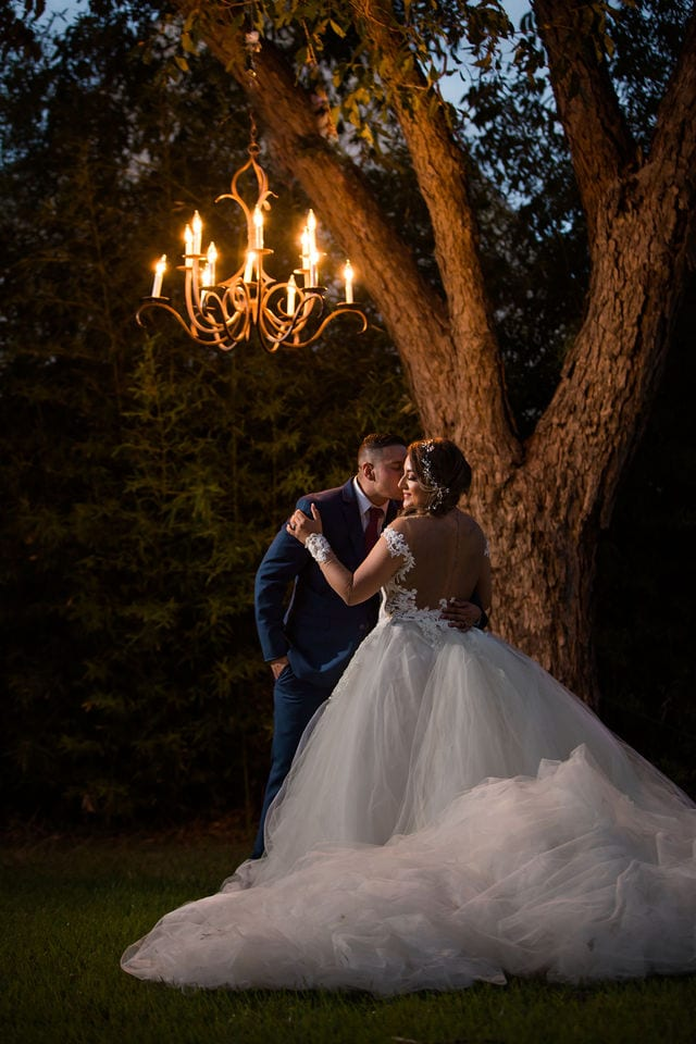 Ashley and Andy wedding Lambermont under the tree with the chandelier