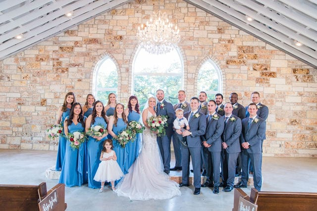 Molly and Michael at the Chandelier of Gruene bridal party