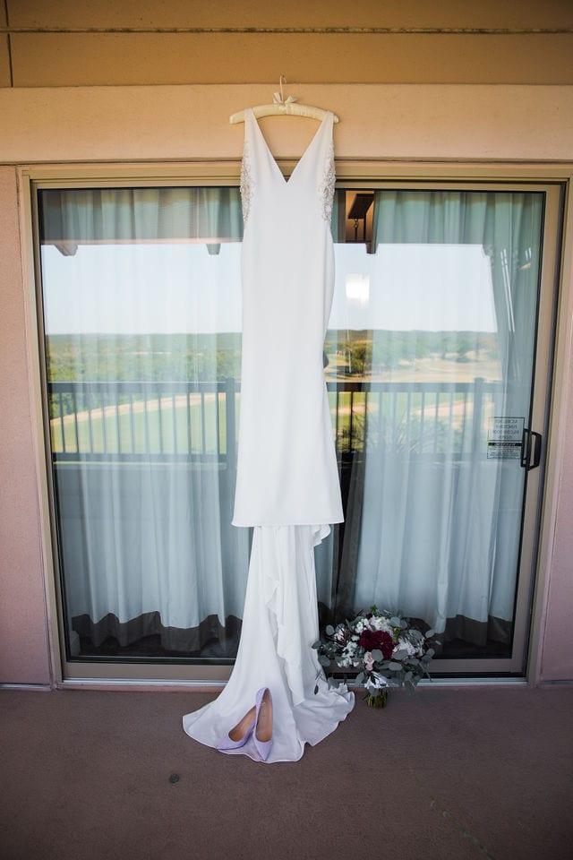 Michele's wedding at La Cantera dress hanging