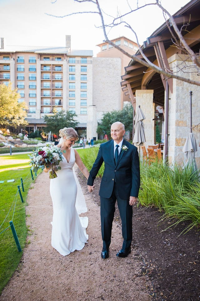 Michele's wedding at La Cantera dad's first look