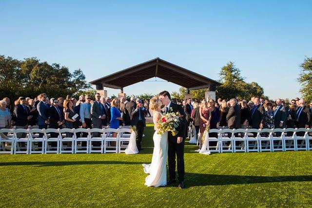 Michele's wedding at La Cantera wedding kiss