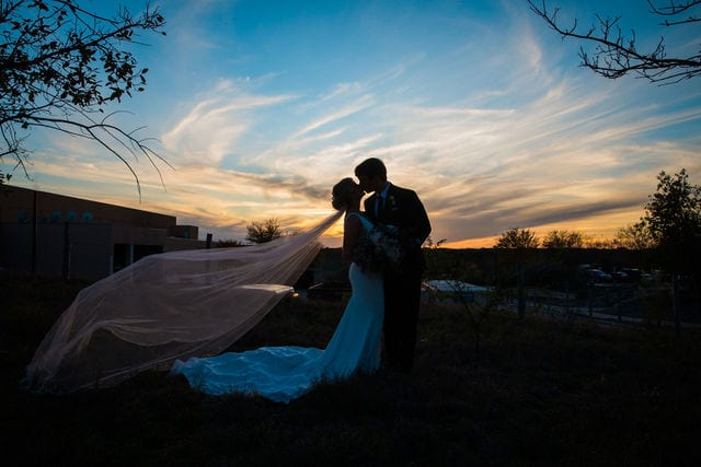 Michele's wedding at La Cantera wedding bride and groom sunset silhouette
