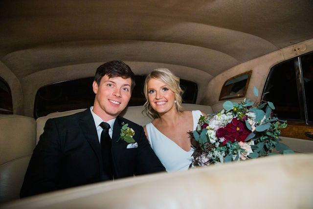 Michele's wedding at La Cantera wedding fancy car inside