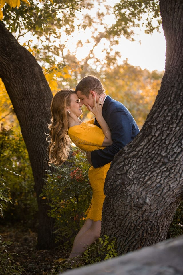 olivia's engagement landa library dip in the fall trees