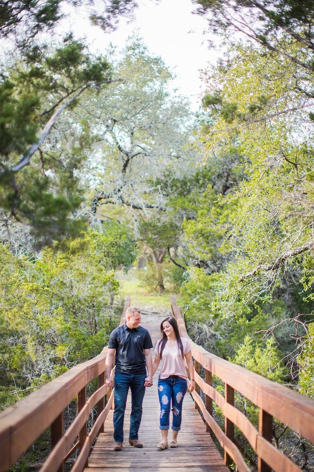 Stefan and Ashley's engagement session. Walking on the bridge.