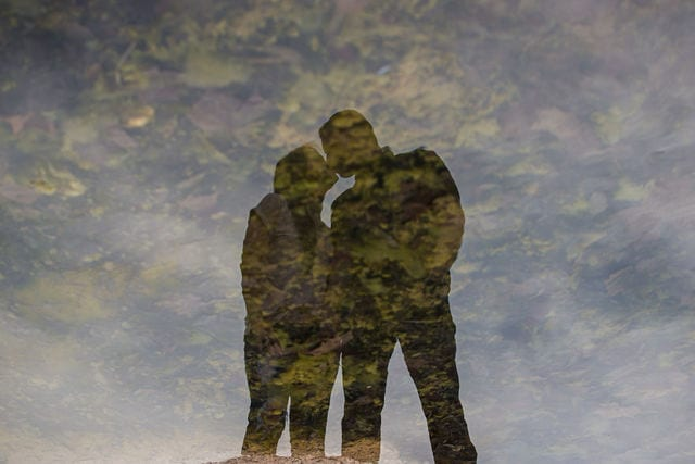 Stefan and Ashley's engagement session. refection in the river