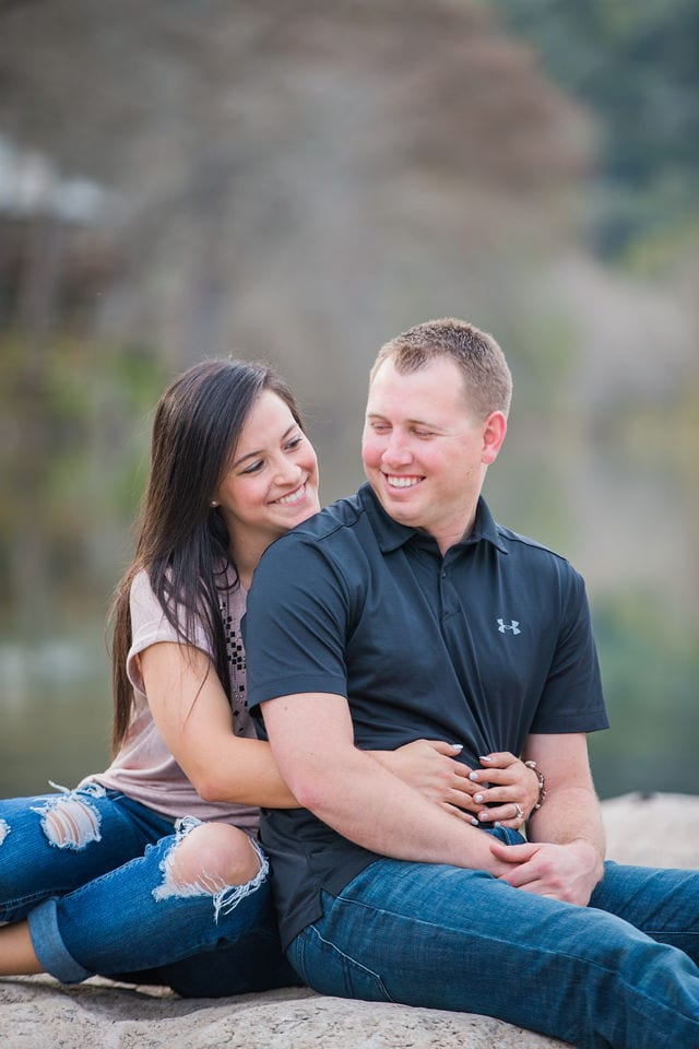 Stefan and Ashley's engagement session. back hug by the river