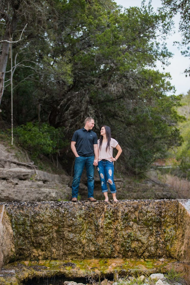 Stefan and Ashley's engagement session portrait on the dam