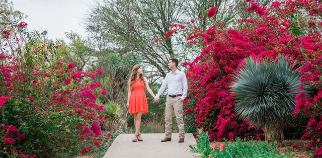 Claire & Josh engagement session San Antonio Botanical Gardens on top of the hill