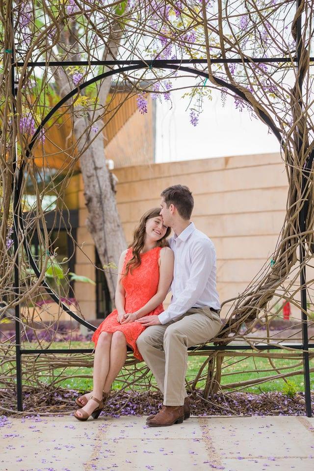 Claire & Josh engagement session San Antonio Botanical Gardens wisteria arch