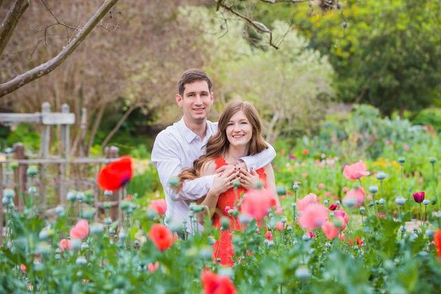 Claire & Josh engagement session San Antonio Botanical Gardens poppies portrait