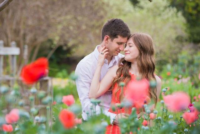 Claire & Josh engagement session San Antonio Botanical Gardens poppies romance