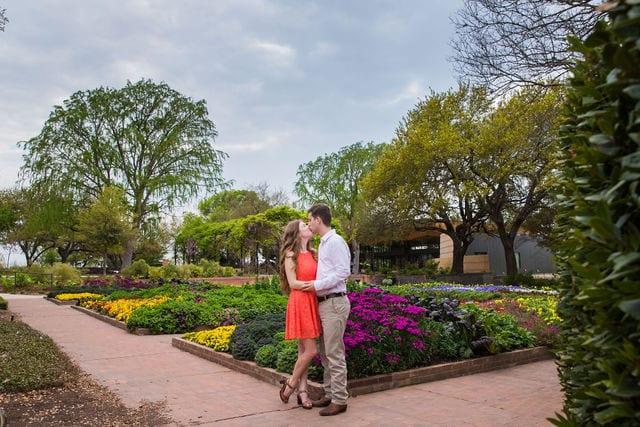 Claire & Josh engagement session San Antonio Botanical Gardens garden square