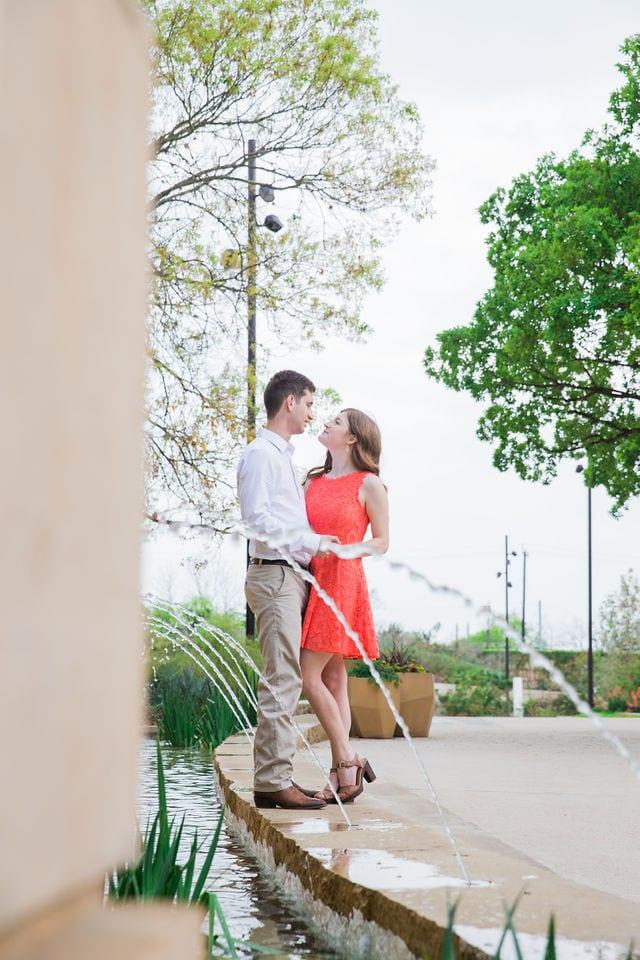Claire & Josh engagement session San Antonio Botanical Gardens garden fountain