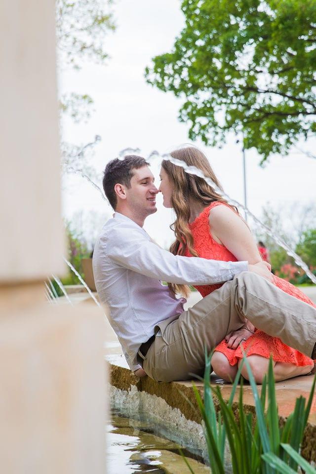 Claire & Josh engagement session San Antonio Botanical Gardens in the garden fountain