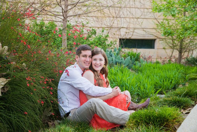 Claire & Josh engagement session San Antonio Botanical Gardens sitting by the path