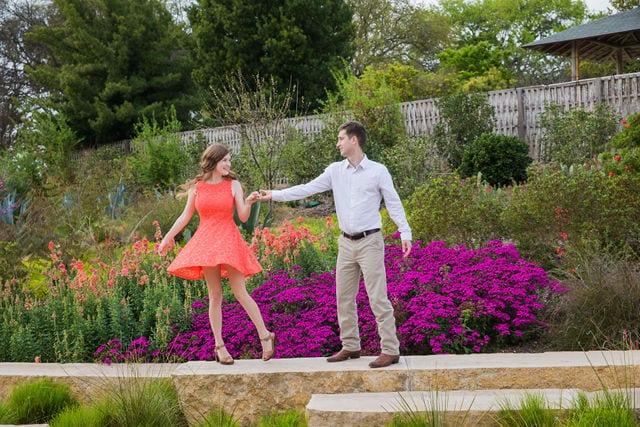 Claire & Josh engagement session San Antonio Botanical Gardens dancing